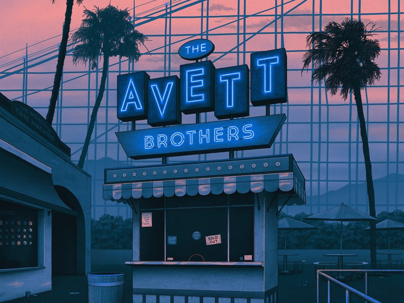 The Avett Brothers Poster sunset palm trees neon gig poster band merch california illustration poster nighttime amusement park neon sign concert band