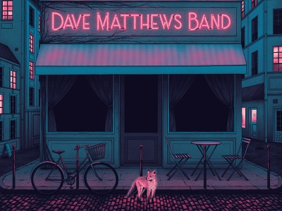 Dave Matthews Band Poster screen print nicholas moegly bicycle coffee shop cafe fox poster nighttime neon sign neon illustration gig poster concert paris band merch band