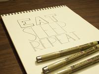 Eat Sleep Repeat Hand Lettering