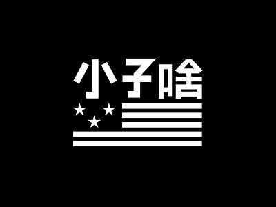 Band Identity stars flag logotype typography asian white black logo rock group music band