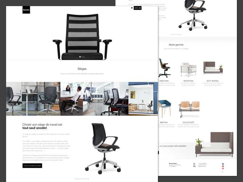 Office Furniture Website belgium office white black helvetica website landing page homepage furniture minimal desk chair