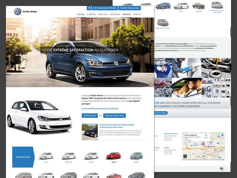 Independent Volkswagen Dealer design homepage responsive website dealer auto car volkswagen