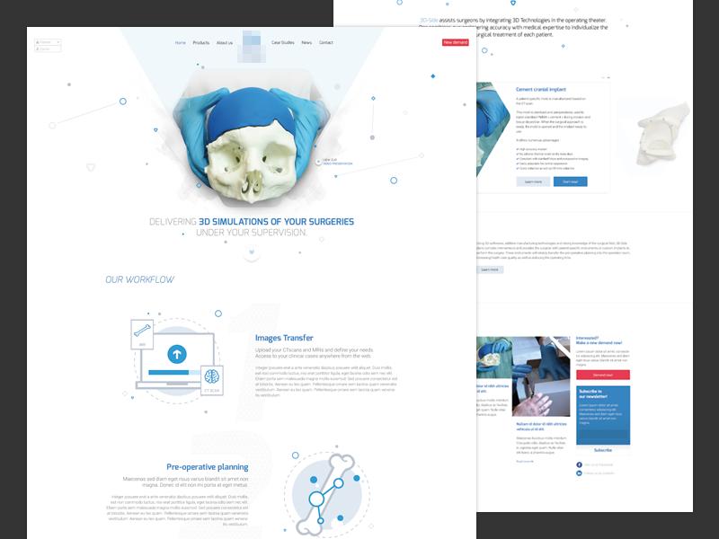Medical website website google font robots exo minimal icons pictogram illustrations skull bones surgery medical