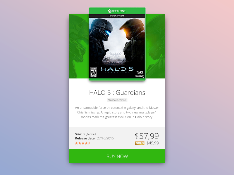 Xbox One Halo Game Card ui web design web design card master chief halo console video game video microsoft xbox