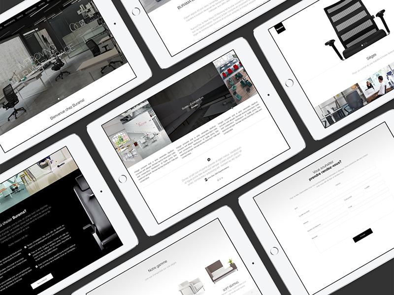 Burama behance responsive furniture office design web design web layout mockup website