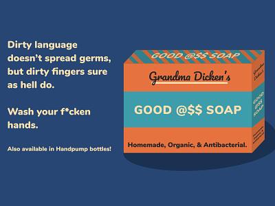 Grandma Dicken's Good A$$ Soap illustration minimal figma design