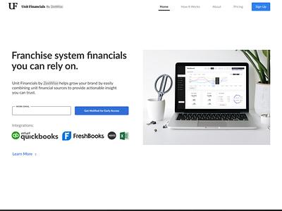 Financial Reporting Tool Landing Page website web ui flat minimal figma design
