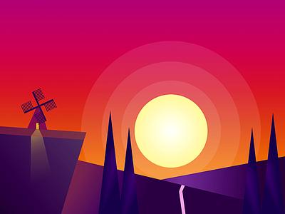 sunset copy work figma vector ui minimal illustration design