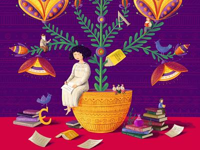 Olena Kurylo, fragment kids kidlit photoshop boho ethnic doodle book childrens kidlitart character people flower ornament traditional ukrainian ukraine female woman she did it illustration