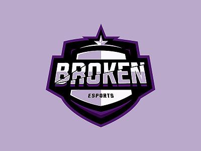 Broken Esports purple broken logo broken badge shield logo shield illustration esports logo branding design esports esportslogo logo