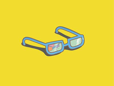 Broken Glasses sunglasses colorful unique dashboad glasses unfortunate series drawing flat icon branding neon sticker illustration design