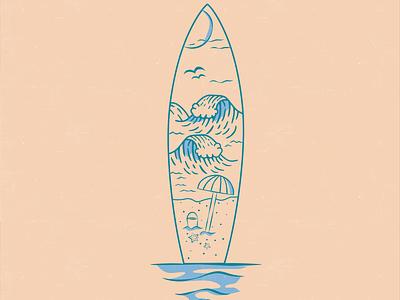 A Beach Life beach illustration beach waves ocean minimal design dashboad icon icon illustration line art vector flat logo branding illustration surfing