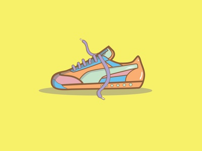 Untied Shoes neon nike shoe stickers drawing sticker branding dashboad vector minimal design flat icon logo illustration