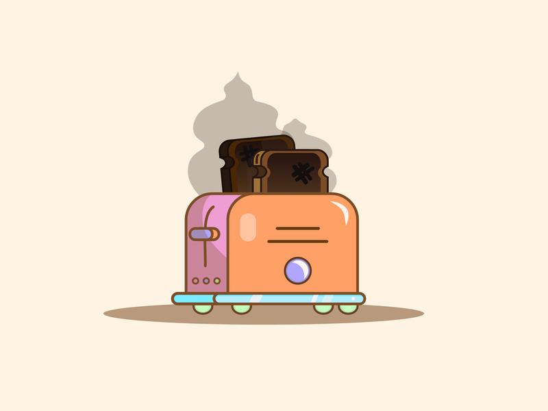 Burnt Toast neon toaster burnt toast illustrator minimal sticker branding dashboad logo design drawing flat icon illustration vector