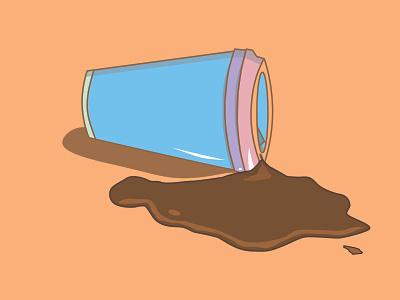 Spilled Coffee coffee cup coffee designer vector branding illustrator dashboad sticker logo illustration icon flat design