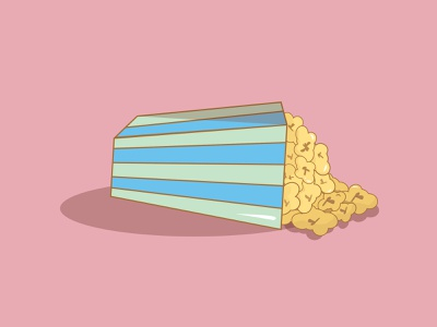 Fallen Popcorn food foodie designer drawing logo flat neon illustrator icon sticker vector illustration dashboad design