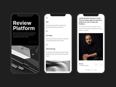 Review Platform - Responsive review white black ui design
