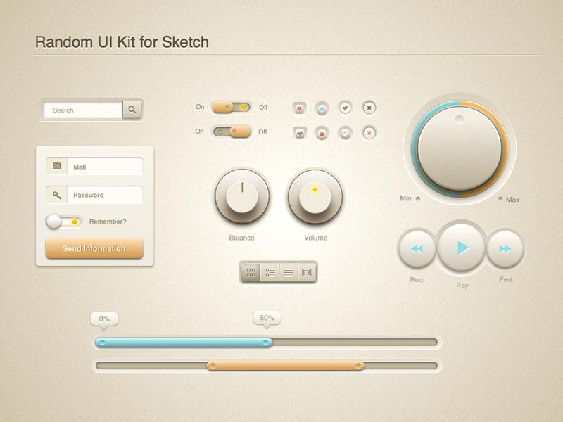 Random UI Kit (for Sketch) ui kit assets volume scroll menu wheel form search sketch play fwd rwd