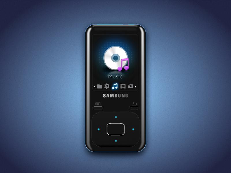Samsung YP-Z3 Music Player samsung yp-z3 music player vector sketch device mp3 ui illustration