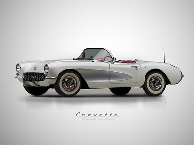 1957 Chevy Corvette Roadster Vector Drawing