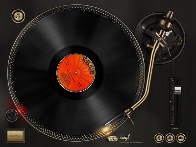 Vinyl - Virtual Drive Turntable System technics. dj interface drawing gui ui vector system turntable drive virtual vinyl