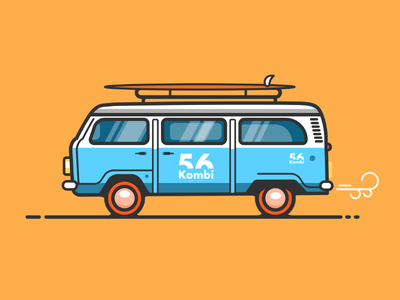 Flat Volkswagen van illustration tutorial.