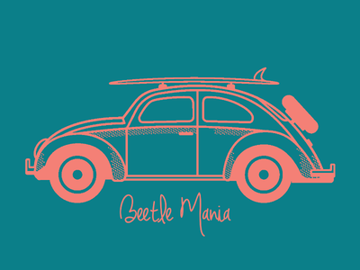"""Beetlemania"" vehicle surf illustration flat halftone vector car volkswagen beetle"