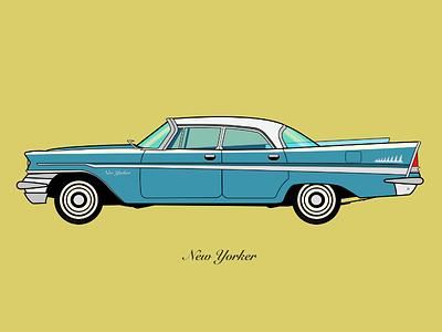 Chrysler New Yorker 1957 - Flat vector illustration vehicle stroke color colour bold flat design flat illustration chrysler car vectorial vector affinity designer