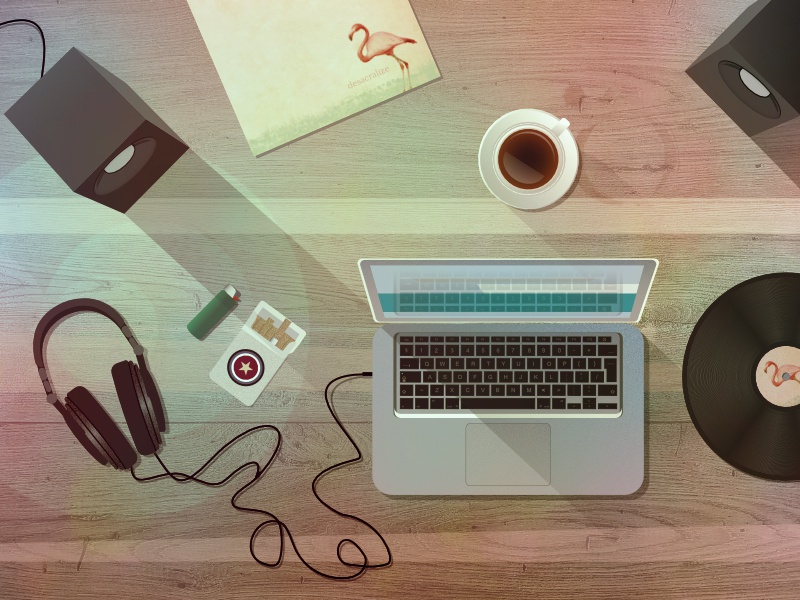 A desk view from top - vector illustration. top view lighter cigarrettes music dj office headphones speakers vinyl coffee illustration desktop