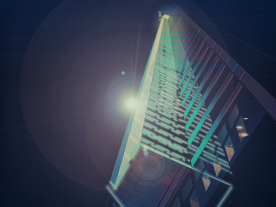 By night and from a low angle - vector illustration vector illustration city light night low angle skyscraper building