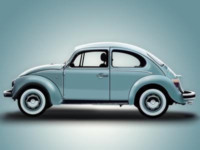 Volkswagen Beetle 2D Vector Illustration Adobe Fireworks volkswagen beetle 2d vector illustration adobe fireworks chrome car vehicle blue wheel