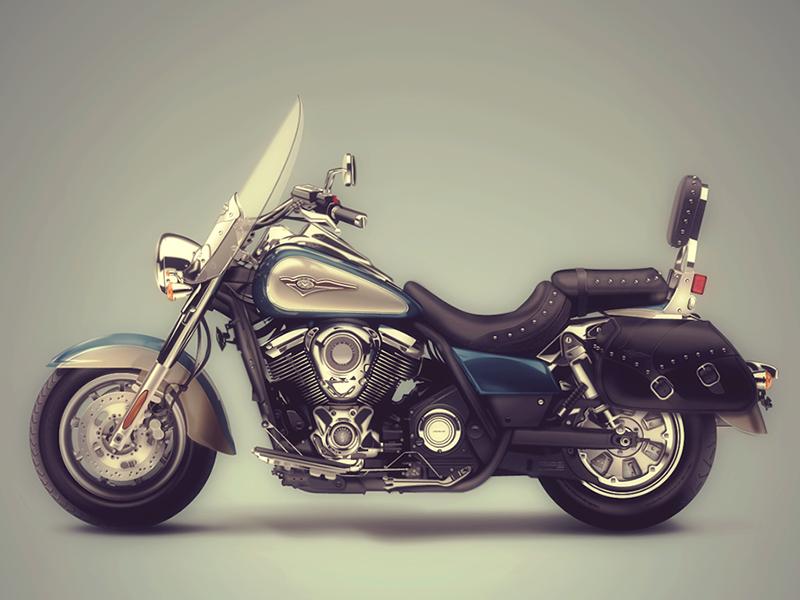 2D Vector Illustr. Kawasaki Vulcan + Full view - Fireworks CS5 2d fireworks illustration vector motorbike vehicle chrome motor hyperrealistic filter