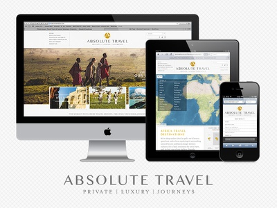 Absolute Travel Site travel website mapbox luxury map responsive design subtle patterns