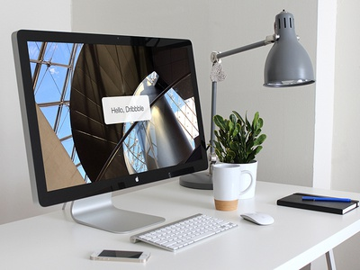 Thunderbolt Workstation Mockup thunderbolt apple iphone ipad designer workstation desk home office office studio 2014