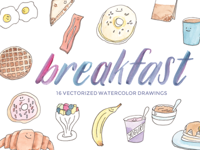 Watercolor Breakfast Clip Art kawaii cute food doodle illustration watercolor etsy