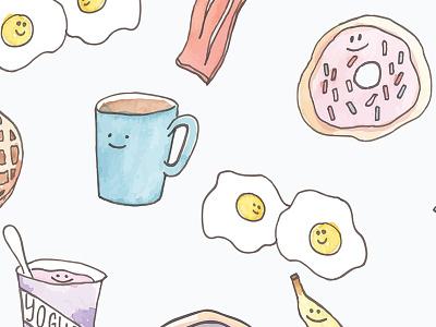 Watercolor Breakfast Pattern food breakfast surface design repeat pattern design pattern surface pattern design