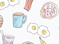 Watercolor Breakfast Pattern