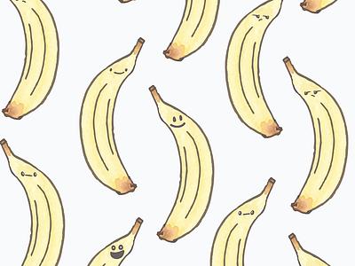 Watercolor Kawaii banana pattern food banana surface design repeat pattern design pattern surface pattern design
