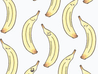 Watercolor Kawaii banana pattern