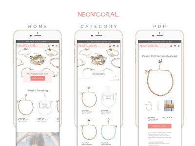 Neon Coral mobile ecommerce ui design mobile retail ecommerce