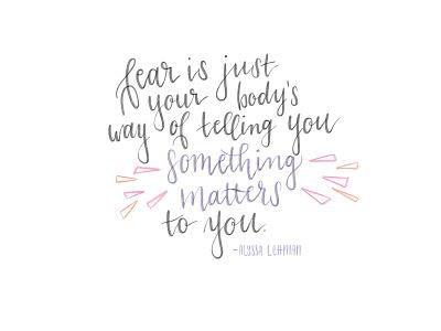Fear design quote brush lettering calligraphy lettering illustration hand lettering