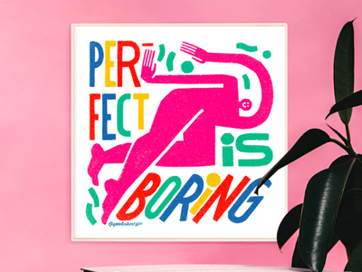 Perfect Is Boring GIVEAWAY! giveaway goodvibestype typography illustration hand lettering handlettering hand drawn design