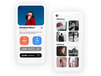 Profile flat mobile app mobile ui minimal dailyui design