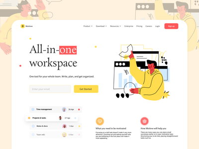 All-In-One Workspace Website web ux ui uiux hero section tools workspace tool all in one project manager landing page website design web ui colorful design agency landing page project management tool project management time management