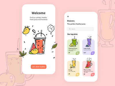 Healthy Food/Drink APP ios iphone mobile ui mobile design dailyuichallenge daily ui uidesign ui  ux ux ui juices juice app smoothies smoothie drink food illustration food and drink food app