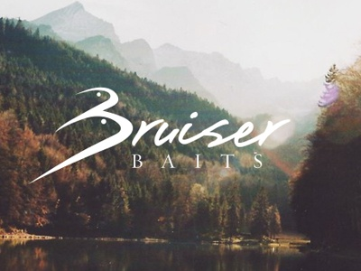 Bruiser Baits logo fishing fish bait script logotype logo type
