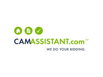 CAM Assistant logo bidding green blue check building logo design real estate