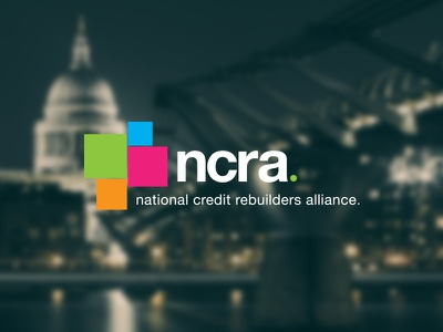 NCRA Logo logo blocks squares colorful simple modern credit builder logo design