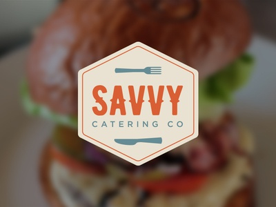 Savvy Catering Company Logo utensils catering logo logo design food logo savvy catering logo