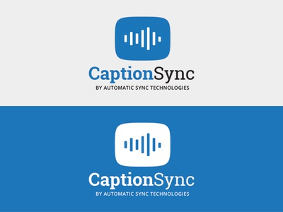 Caption Sync slab serif blue caption sync closed captioning sync audio sound logo text caption